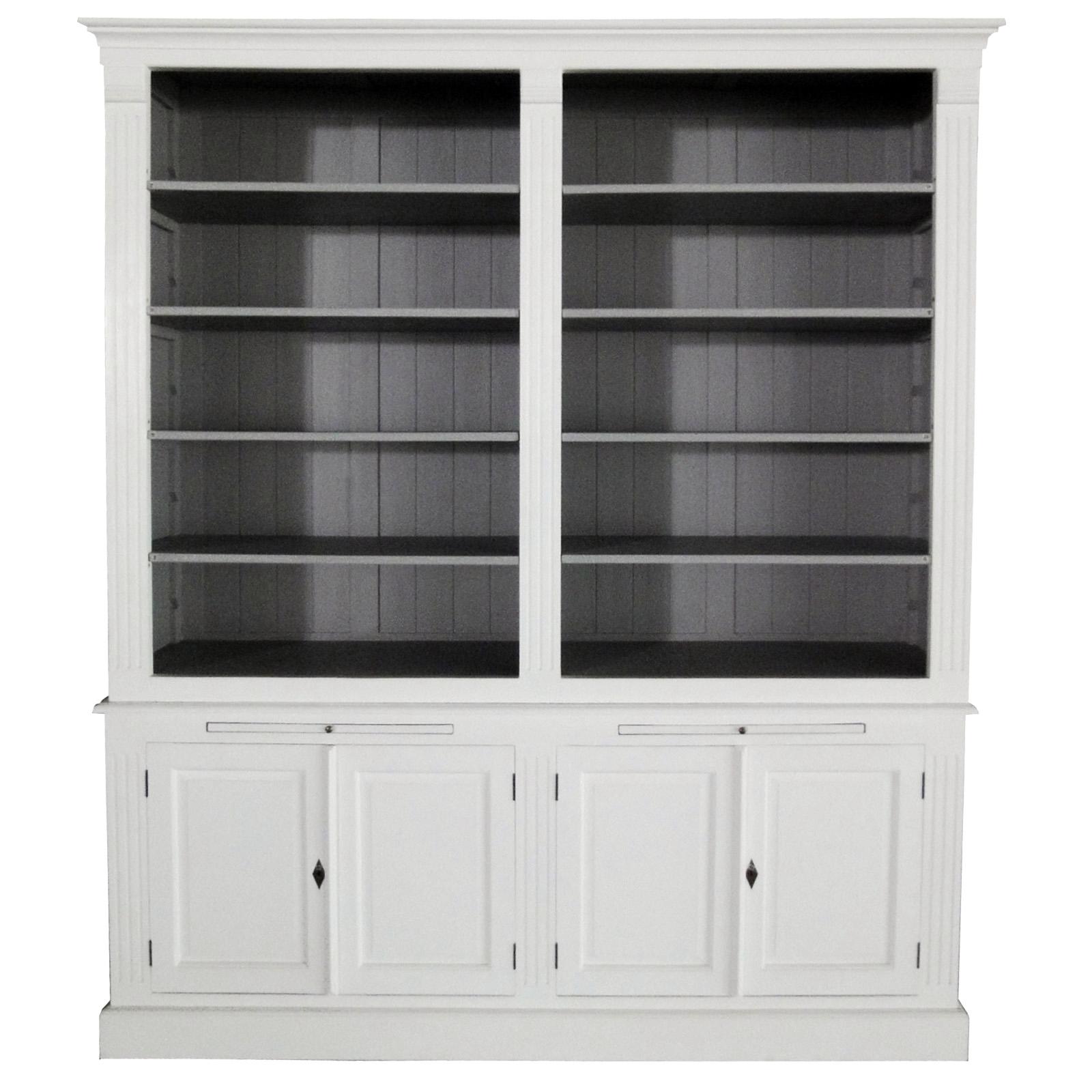 white wash boekenkast met grijze binnenkant