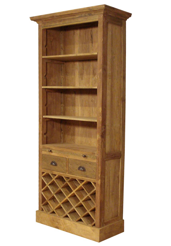 boekenkast rural teak met wijnrek
