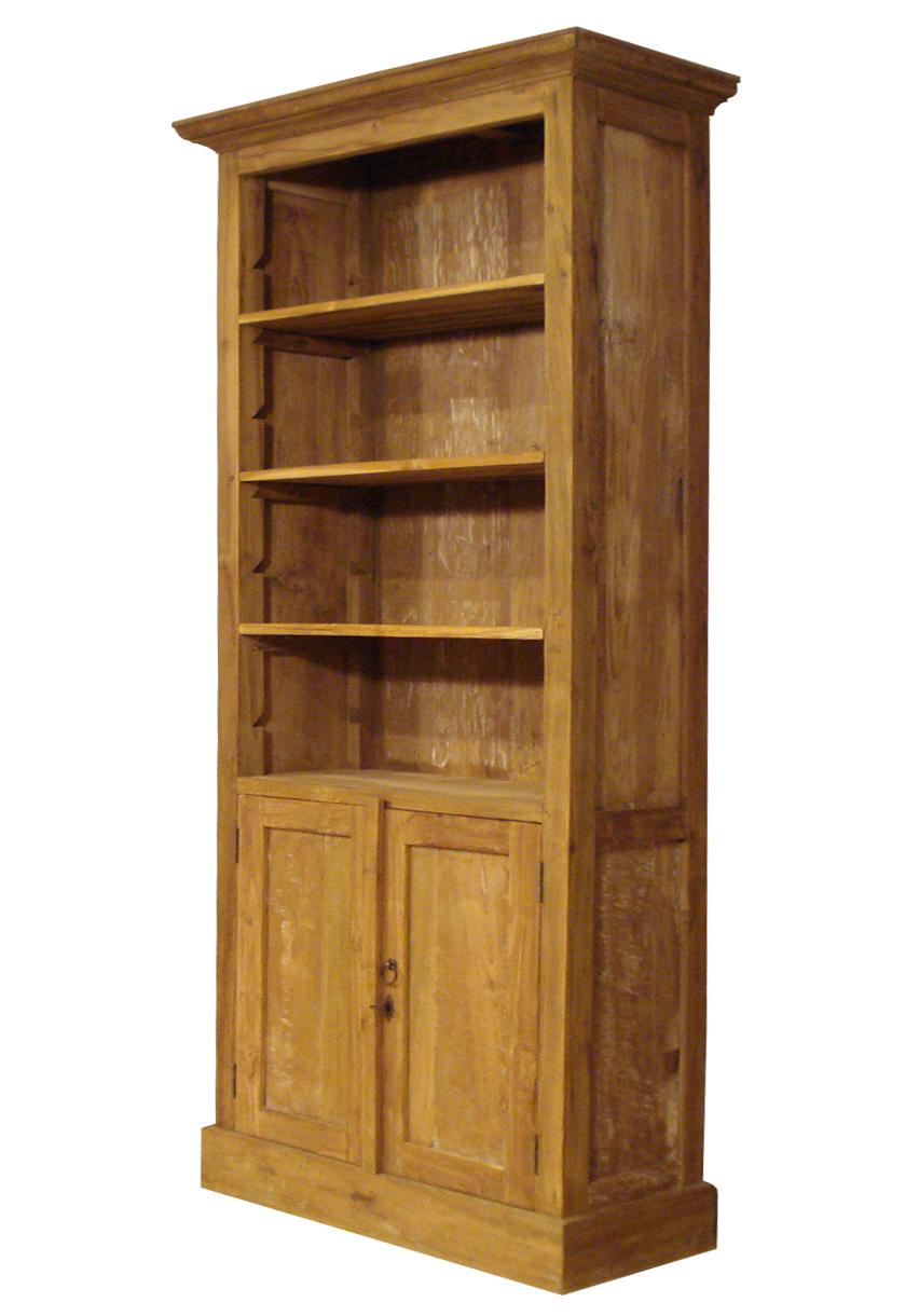 boekenkast rural teak met deuren