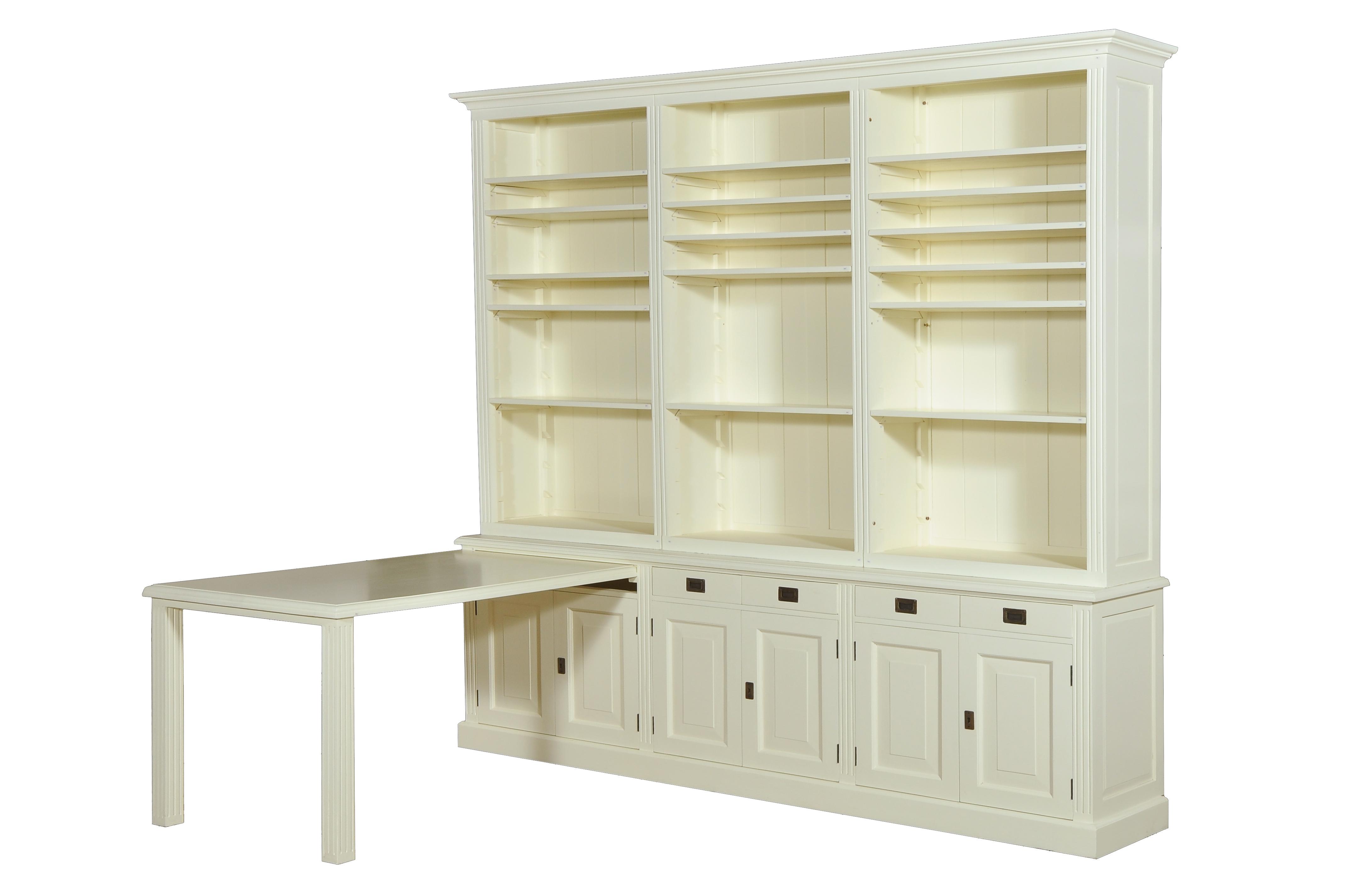white wash boekenkast met tafel