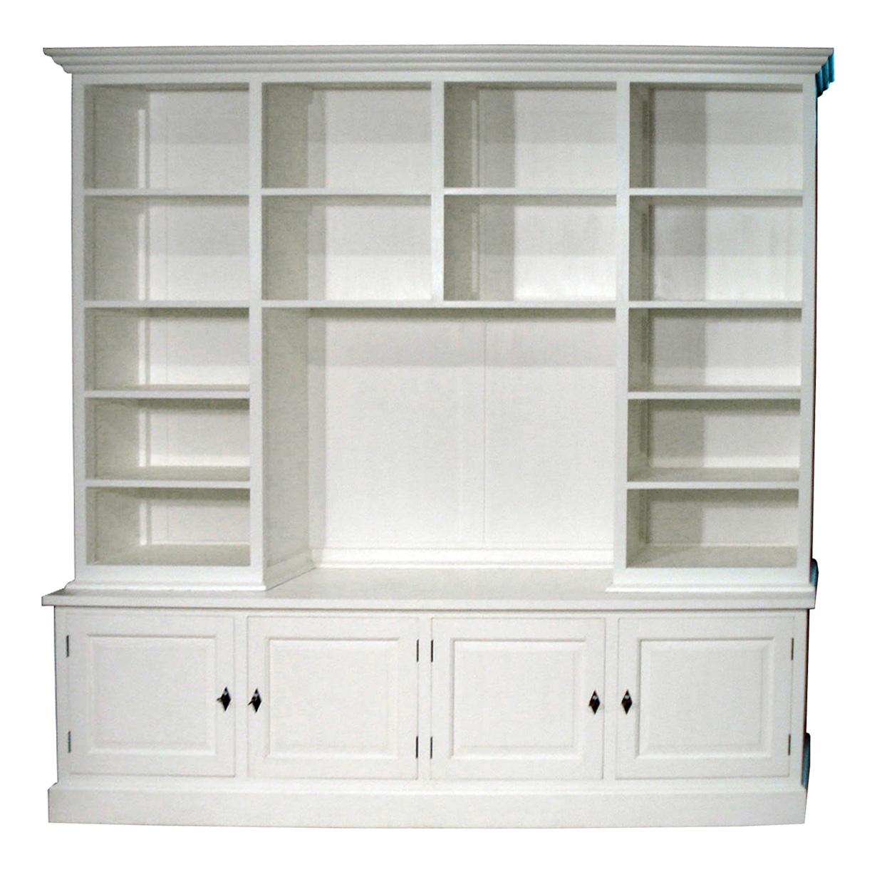 White-wash Boekenkast met TV-gedeelte | AJC Meubelen