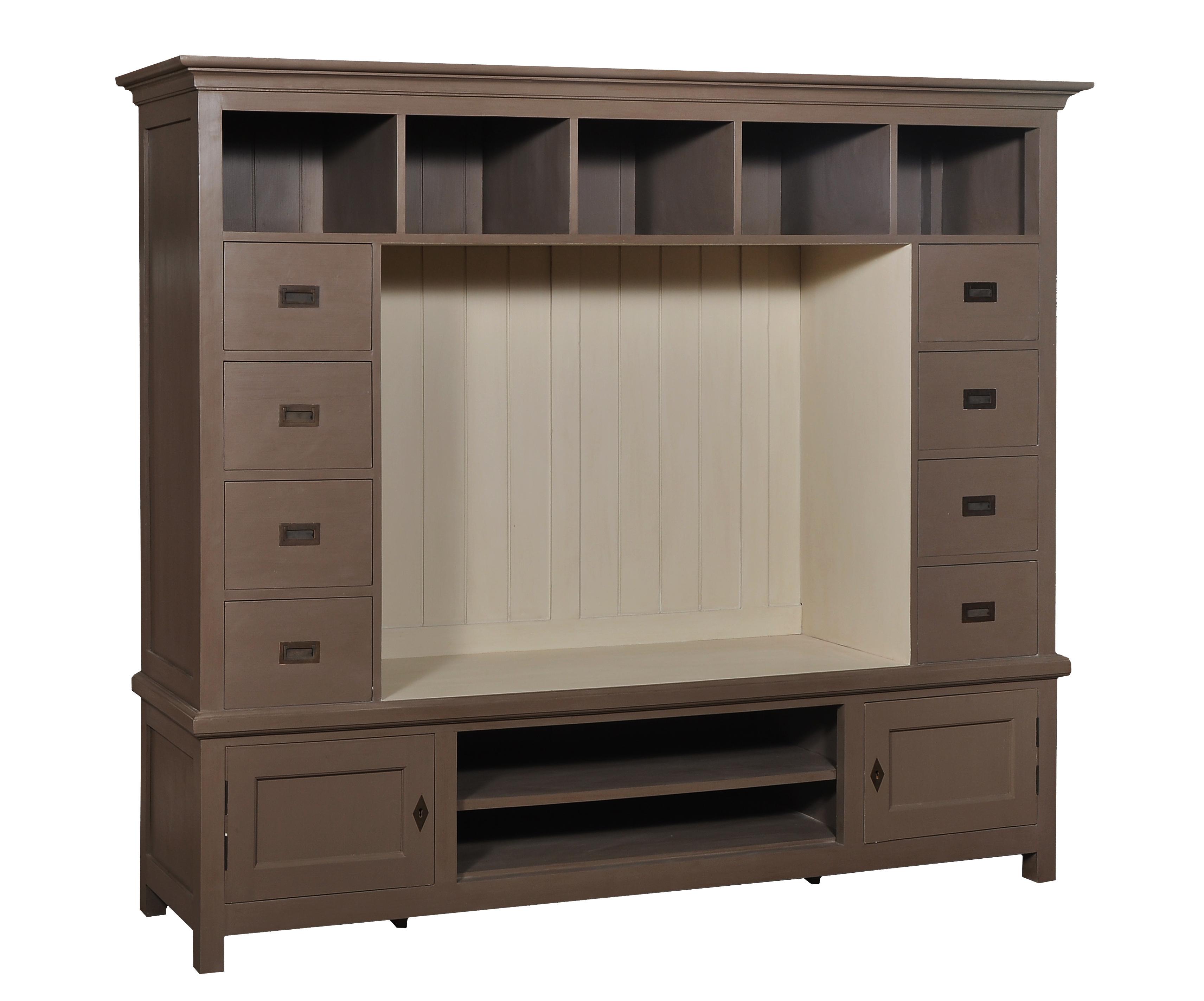 boekenkast met tv gedeelte in taupewit