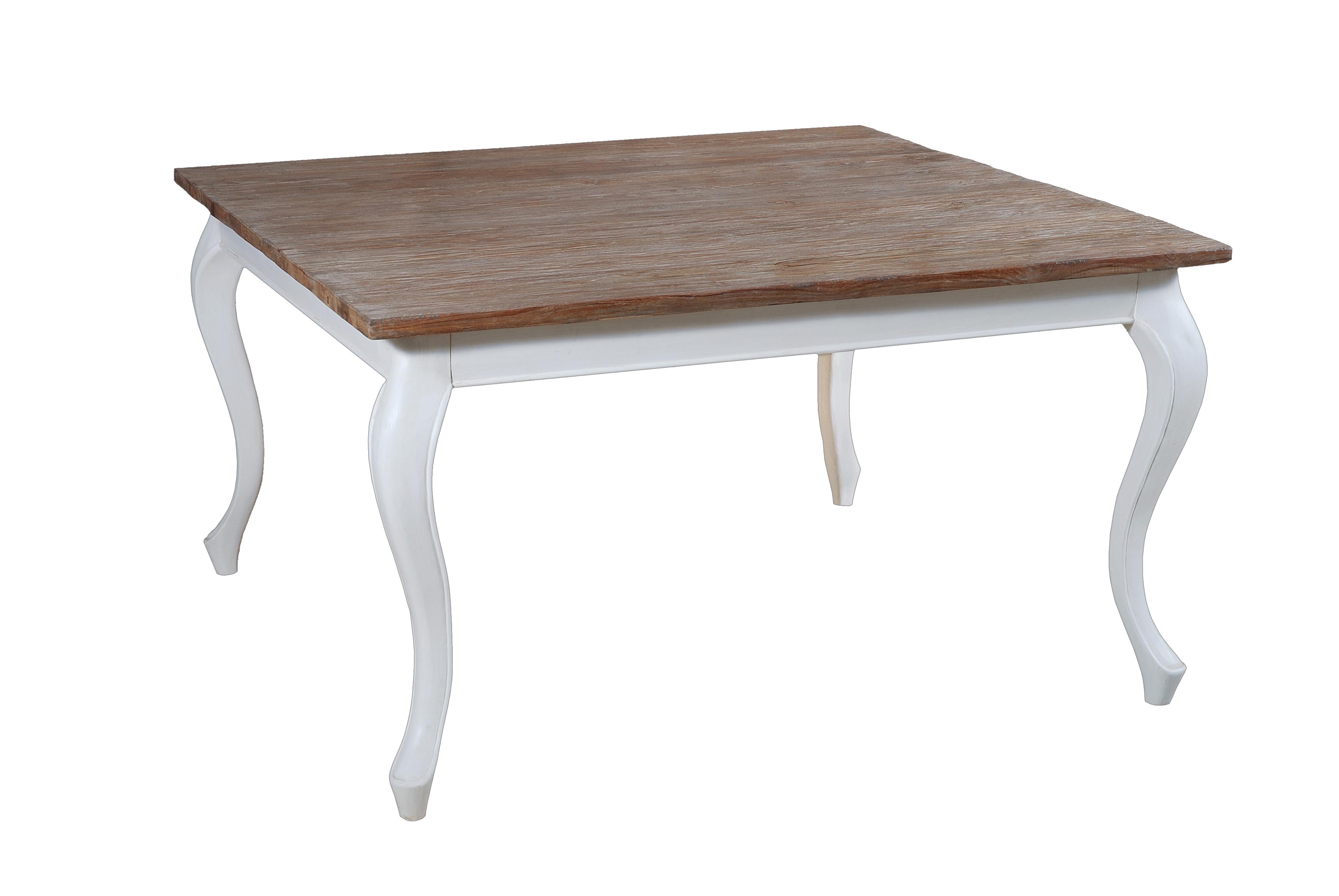 Eettafel White Wash.Vierkante White Wash Eettafel Met Teak Blad En Barokpoten Ajc Meubelen