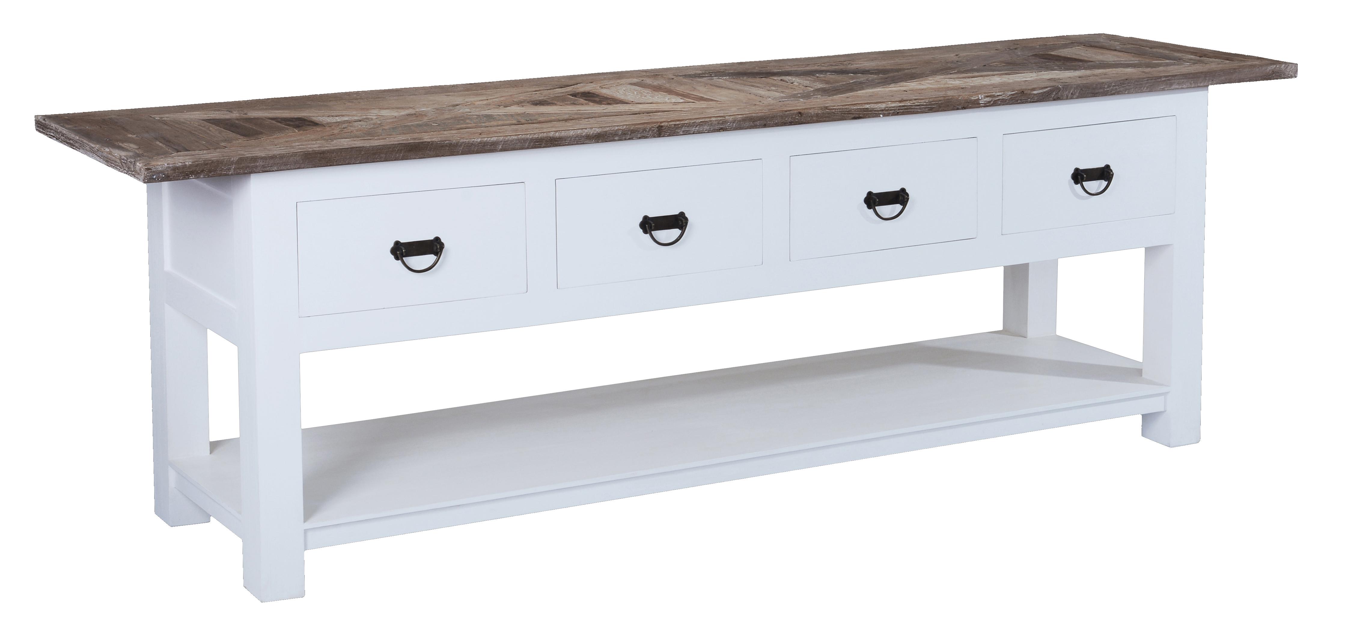 Sidetable Met Lades.White Wash Side Table Met Mozaiek Teak Blad En 4 Lades
