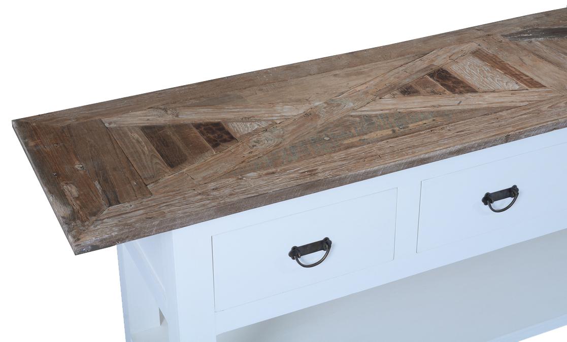 Sidetable Met 4 Lades.White Wash Side Table Met Mozaiek Teak Blad En 4 Lades