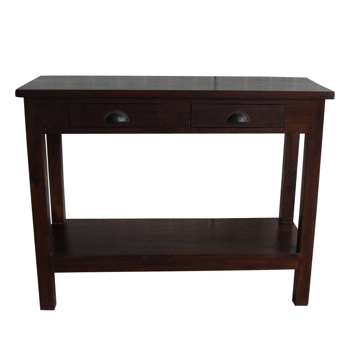 Sidetable Met Lades.Koloniale Side Table Met Onderplank En 2 Lades