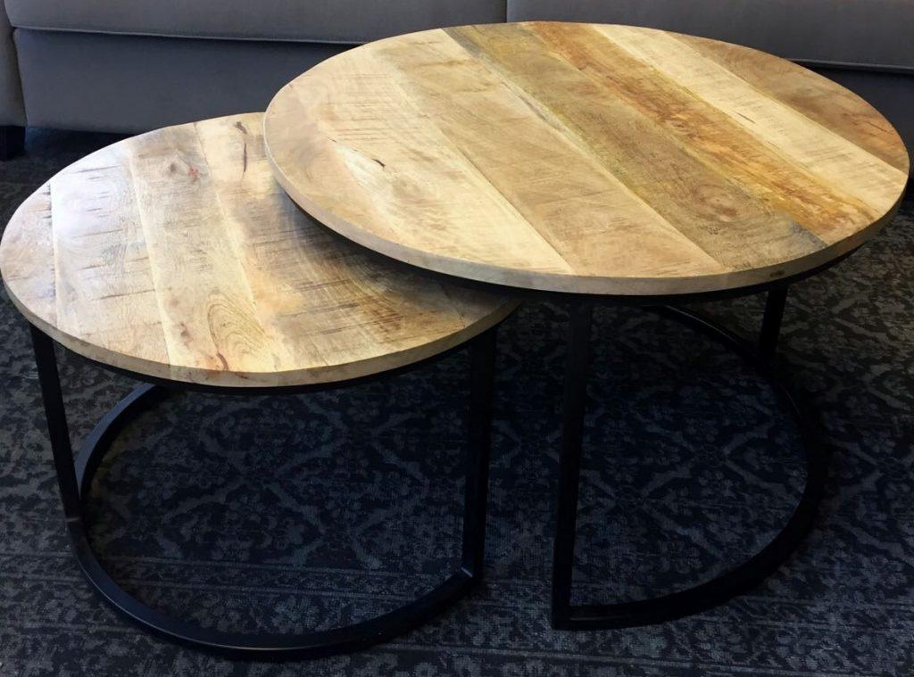 Bijzettafel rond hout ajc meubelen